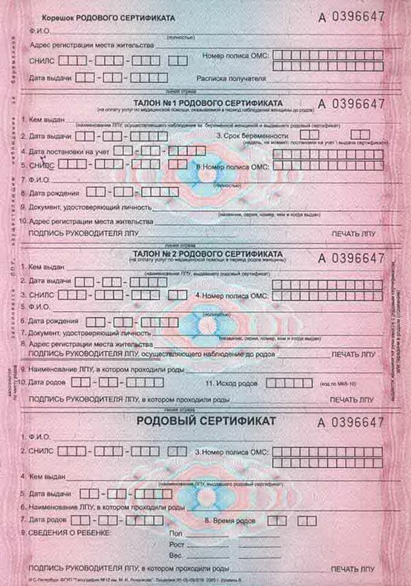 Части родового сертификата